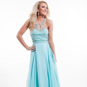 RACHEL ALLAN Aqua Blue Beaded Illusion Gown! #2057